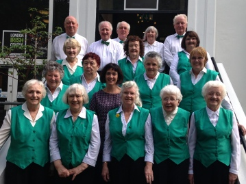 The Irish Pensioners Choir with their new choir leader Natasha Lohan, on the steps of the London Irish Centre