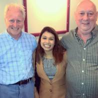 Patrick, Tulip Siddiq MP and Tom enjoying their evening