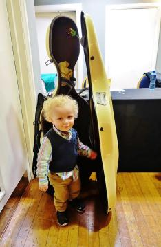 Toddler and cello case 2